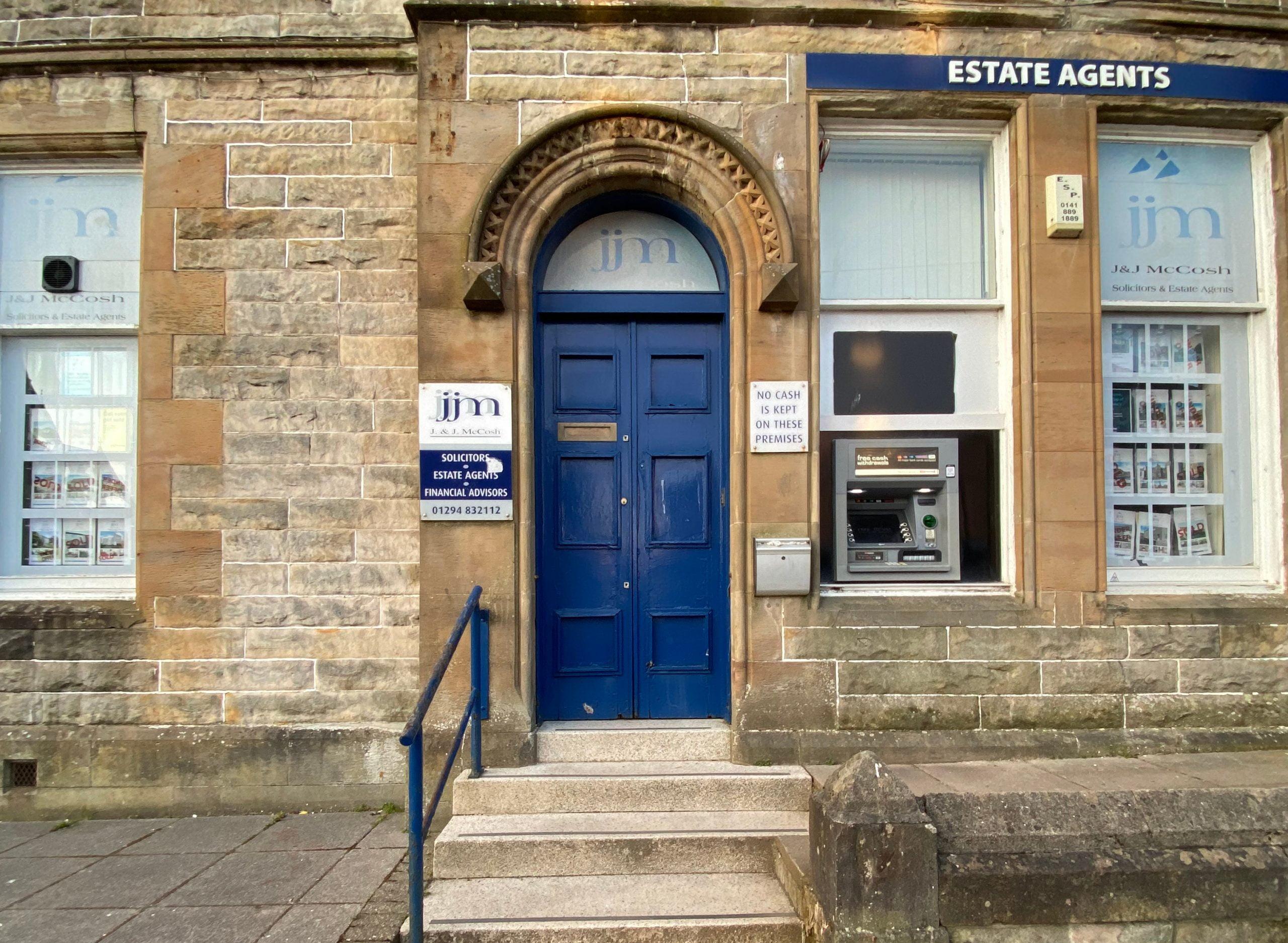 J & J McCosh entrance to office in The Cross, Dalry