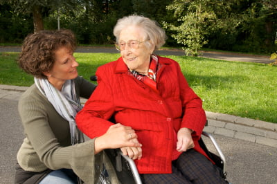 Daughter and her mother after a guardianship has been granted