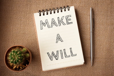 Image of a notepad with the words Make a Will written on it with a cactus and pen beside it