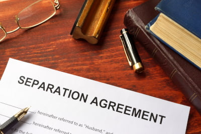 Image of a document with the words Separation Agreement printed on it