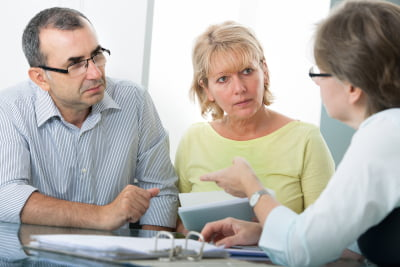 Lawyer explaining the estates situation to clients